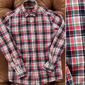 Uniqlo Linen Blend Buttondown Shirt Plaid XS
